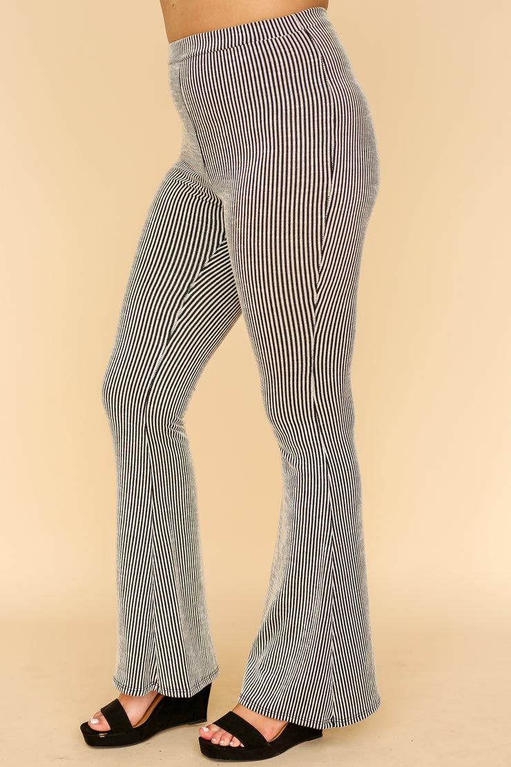 Kiki LaRue Brianne Black and White Striped Flared Leg Pants
