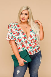 Kiki LaRue Brittney White Floral Wrap Style Peplum Bubble Sleeve Top
