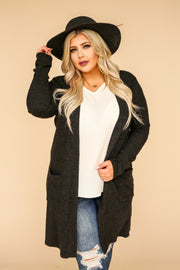 Kiki LaRue Brushed Charcoal Pocket Cardigan
