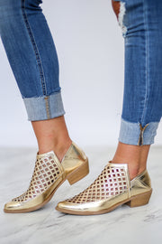Kiki LaRue Callen Gold Metallic Booties