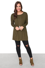 Chandler Luxe Long Sleeve Scoop Neck Tunic - Olive