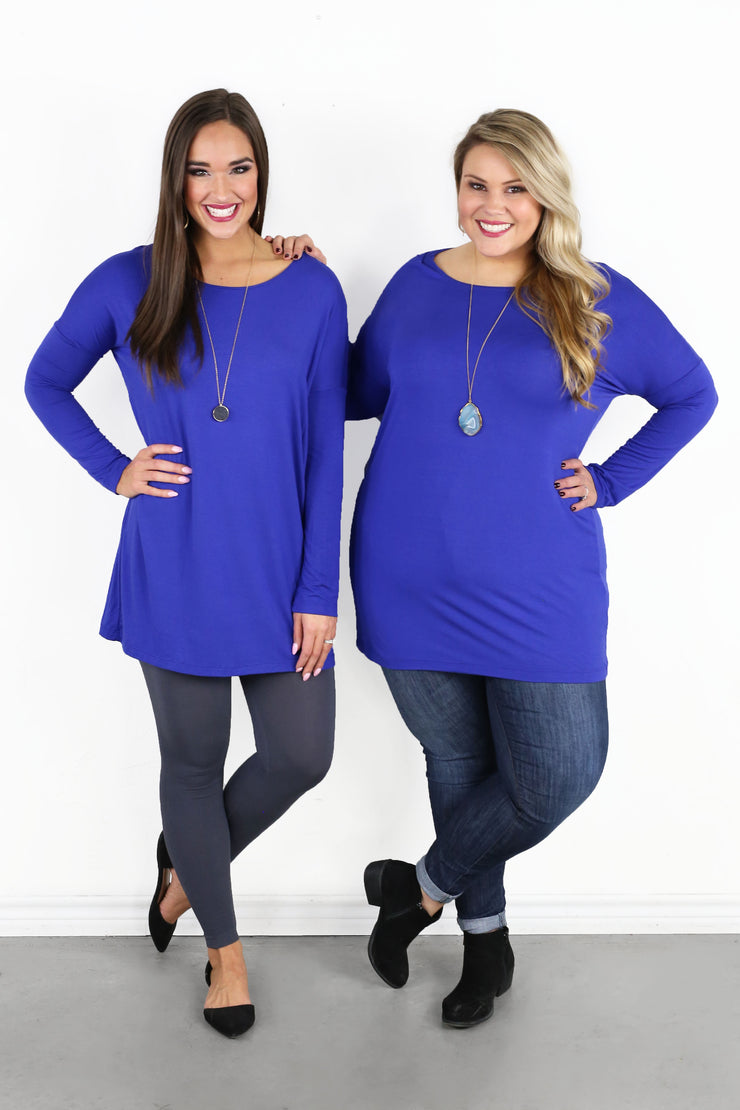 Chandler Luxe Long Sleeve Scoop Neck Tunic - Royal