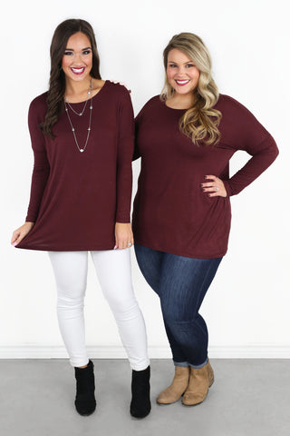Chandler Luxe Long Sleeve Scoop Neck Tunic - Maroon