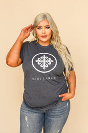 Kiki LaRue Logo Tee Crew Neck Short Sleeved Light Weight - Heathered Blue