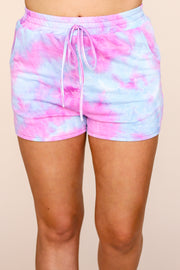 Kiki LaRue Cyprus Blue Tie Dye Elastic Band Pocket Shorts
