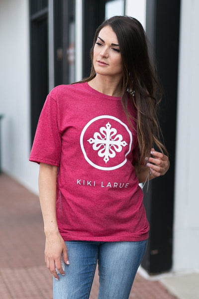 Kiki LaRue Crew Neck Short Sleeve Logo Tee - Heathered Red