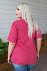 Kiki LaRue Logo Tee Crew Neck Short Sleeved Tri-Blend - Heathered Red