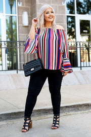 Kiki LaRue Don't Be Basic Wine Multi Striped Off The Shoulder Top