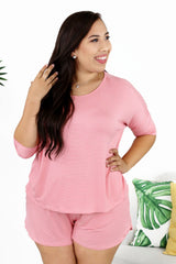 Lounge by Kiki LaRue: Dublin Top - Pink/White