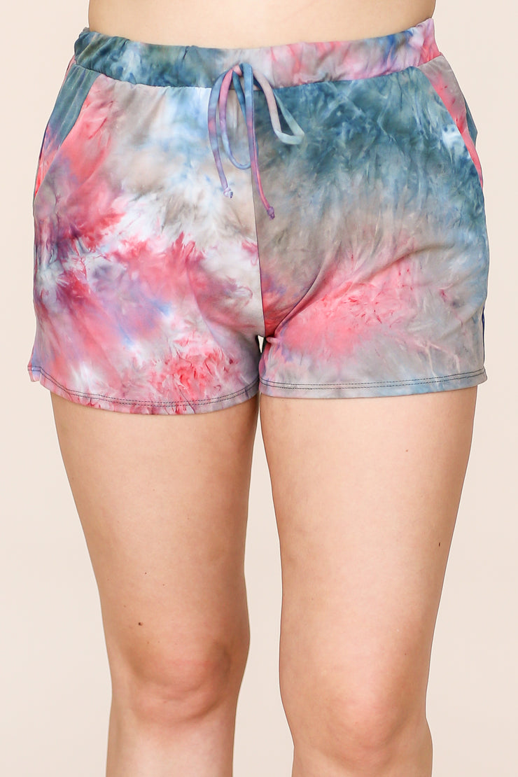 Kiki LaRue Elsie Teal Tie Dye Soft Elastic Bank Pocket Shorts