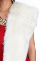 Faux Fur Pull-Through Scarf - Ivory
