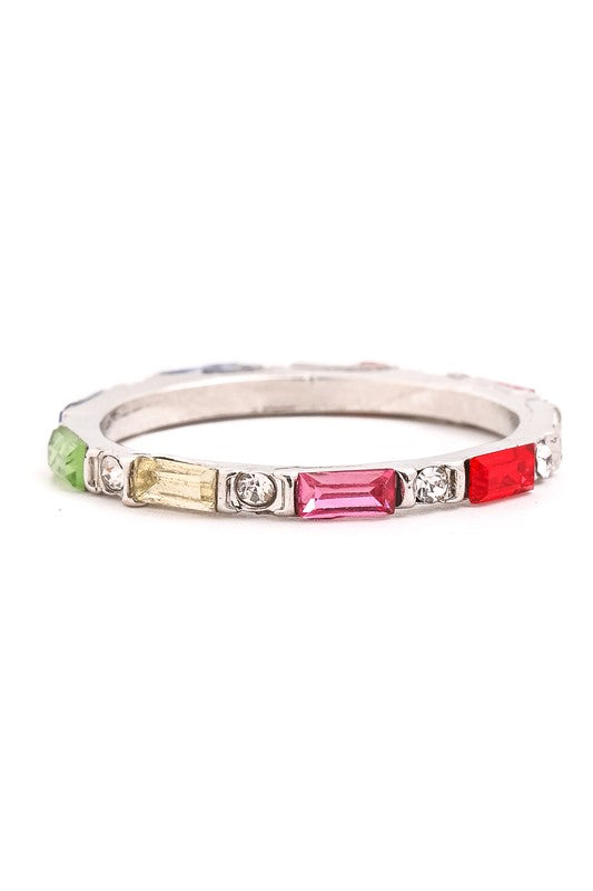 Gemma Collection: Merle Skinny Stackable Baguette Rainbow Ring