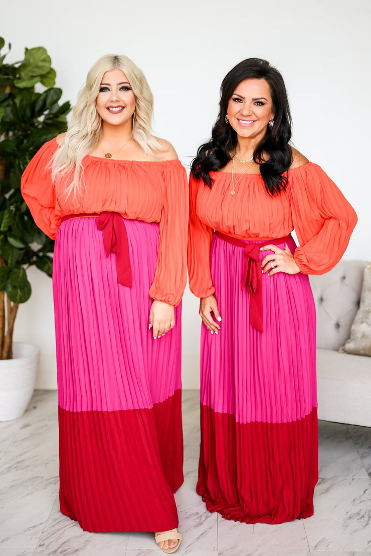 Gloria Pleated Colorblock Maxi Dress