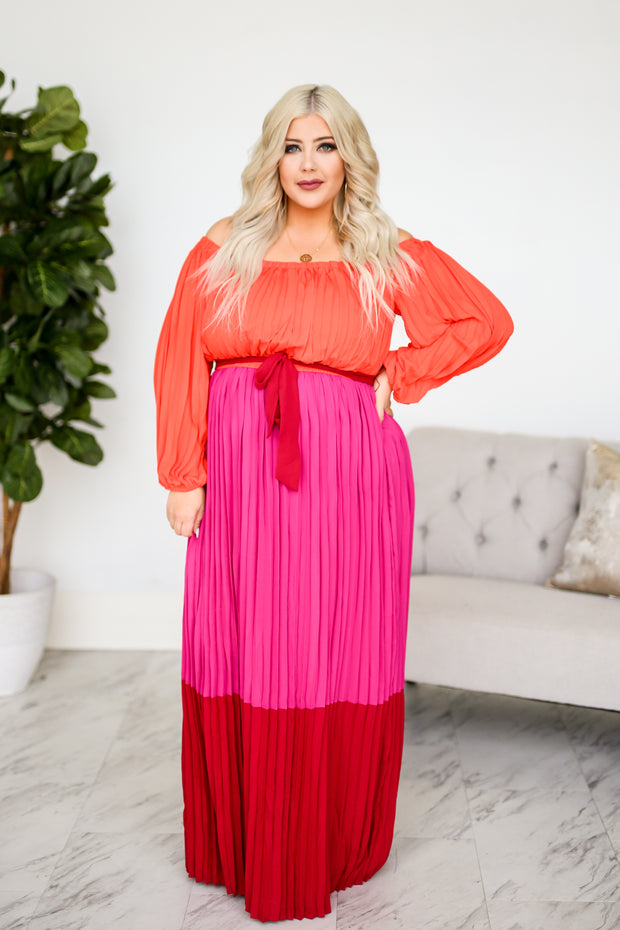 Kiki LaRue Gloria Pleated Long Sleeve Maxi Dress