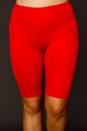 Kiki LaRue High Waisted Knee Length Biker Shorts - Red
