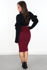 Highrise View Skirt- Burgundy