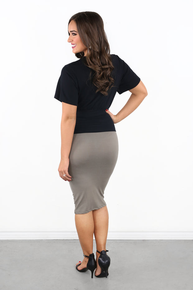 Highrise View Skirt- Taupe