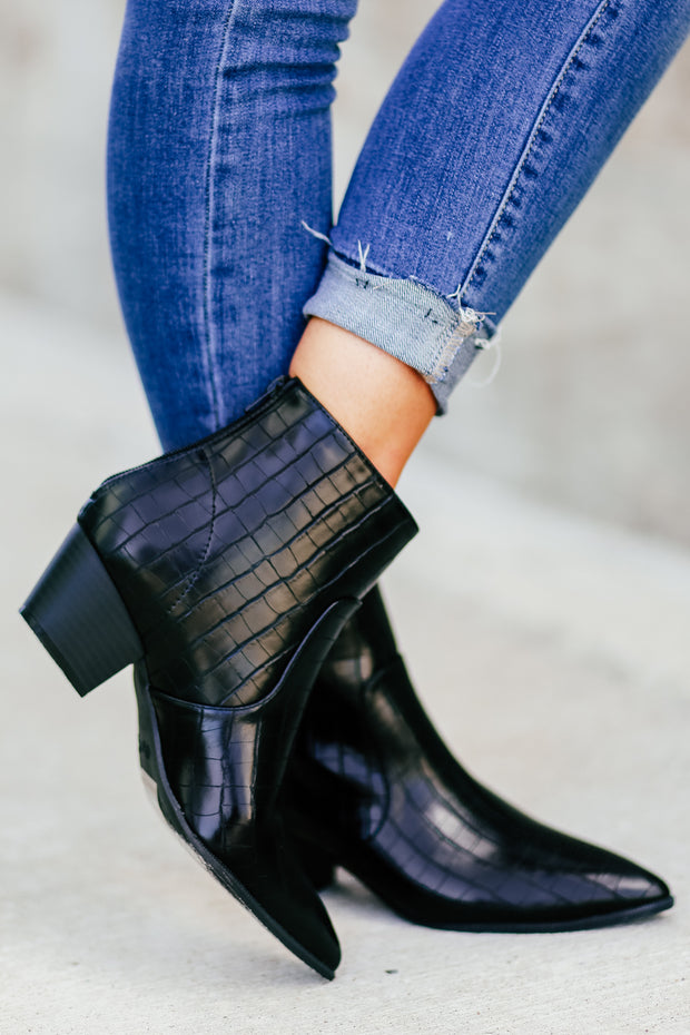 Hoffman Booties - Black Crocodile