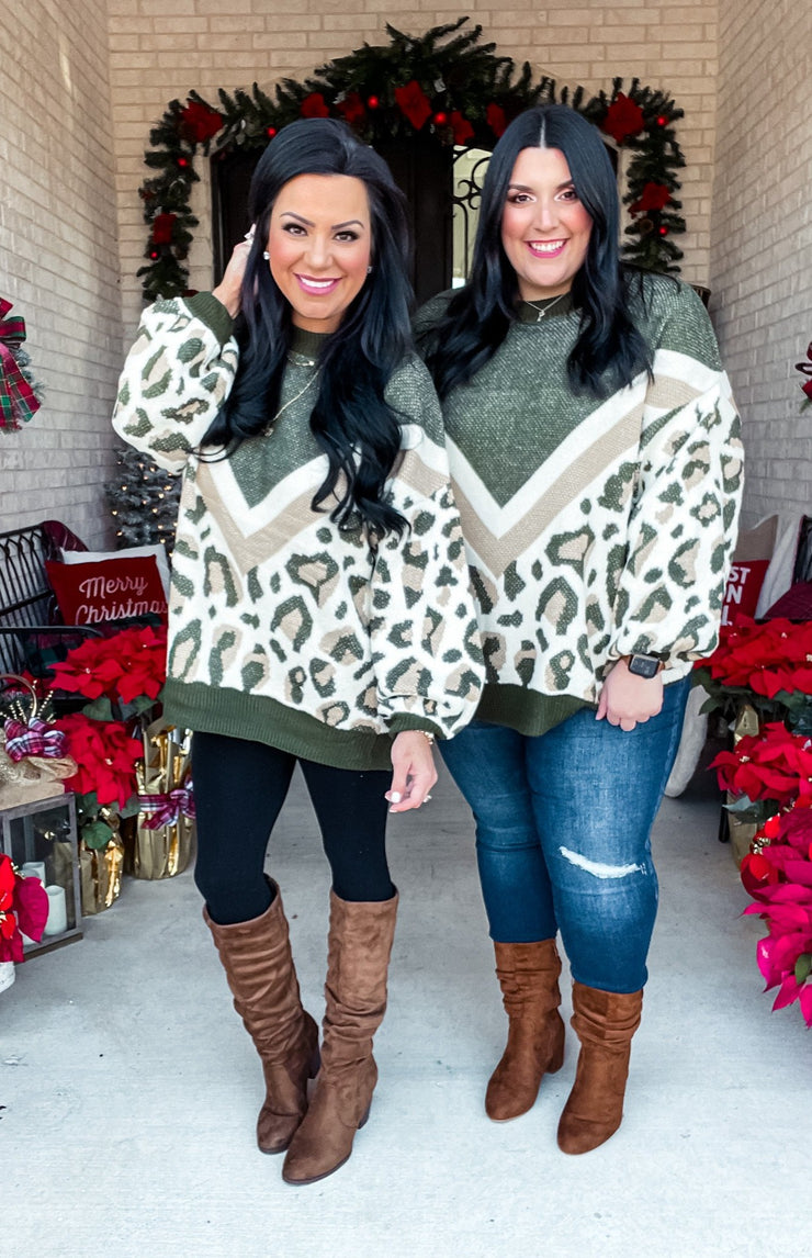 Gianna Olive Leopard Sweater