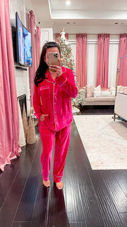 Hollie Velvet Pajama Top - Pink
