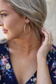 Kiki LaRue Collection:  Gold Hammered Hoop Earrings
