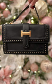Juliette Gold Stud Handbag - Black