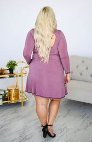 Kiki LaRue Burrow Mauve Long Sleeve Shirt Dress