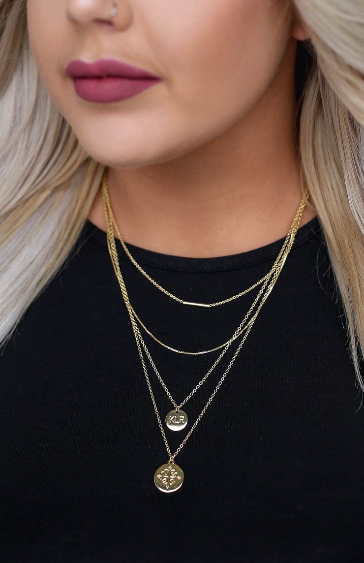 Kiki LaRue Collection: Signature Four Layer Gold Stacked Logo Necklace - 16""