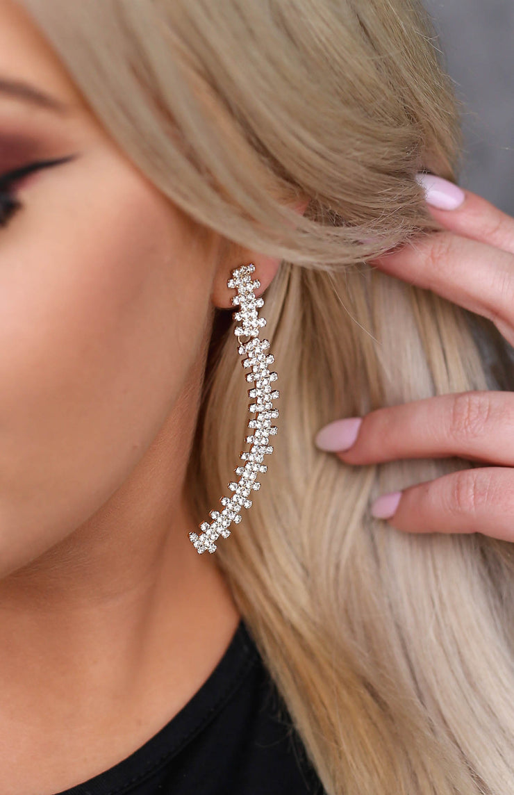 Kiki LaRue Hilton Rhinestone Pave Curve Earrings