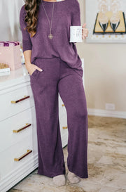 Plush Lounge by Kiki LaRue: Tahiti Wide Leg Pants - Purple