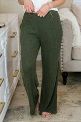 Lounge by Kiki LaRue: Tahiti Wide Leg Pants - Olive