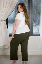 Plush Lounge by Kiki LaRue: Tahiti Wide Leg Pants - Olive