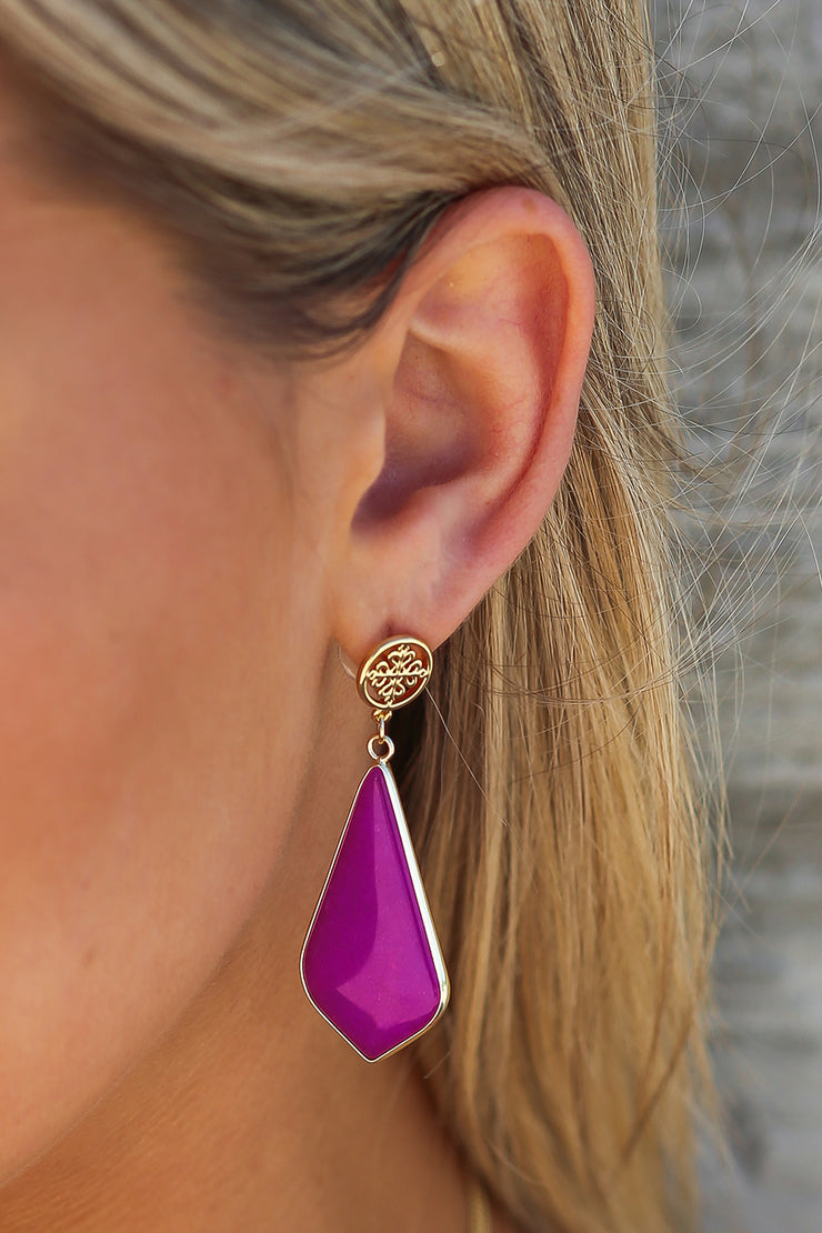 Kiki LaRue Collection: Genuine Purple Agate Earrings