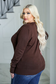 Sophia Button-Sleeve Top - Brown