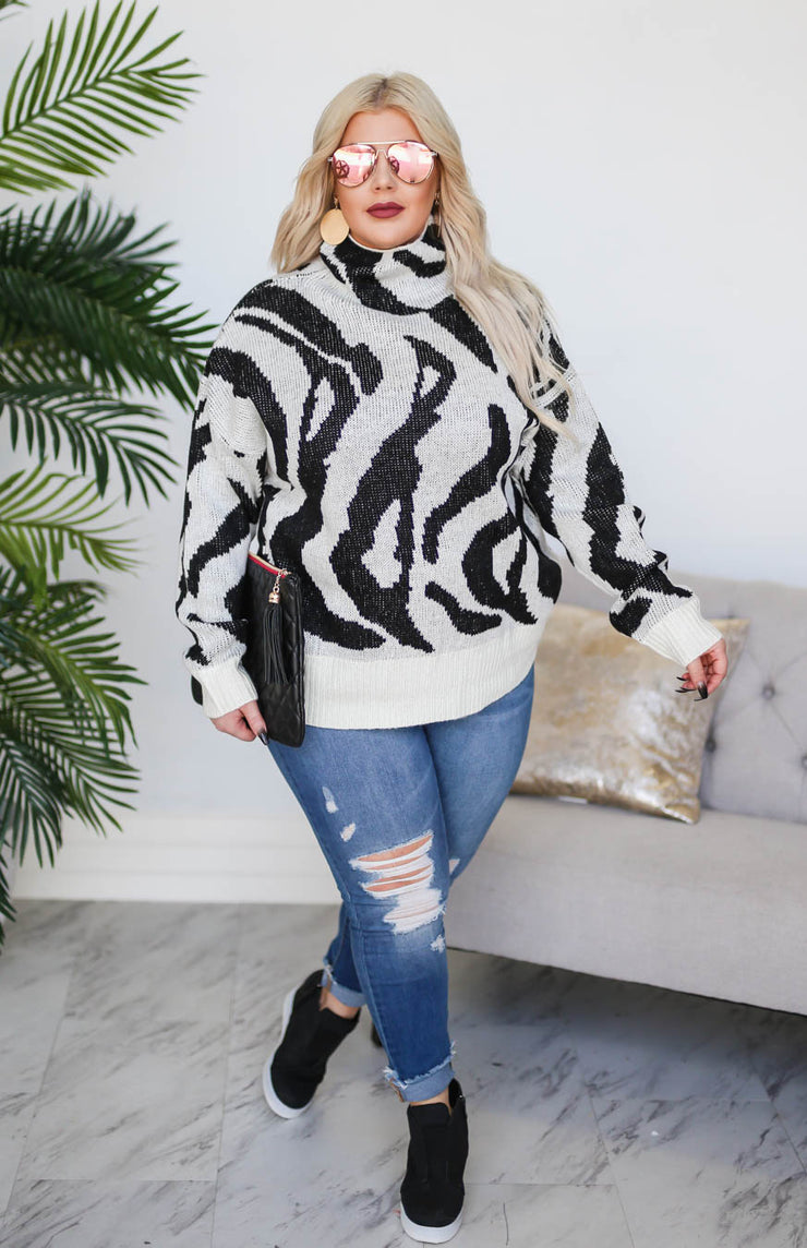 Kiki LaRue Henderson High Neck Knit Zebra Print Sweater