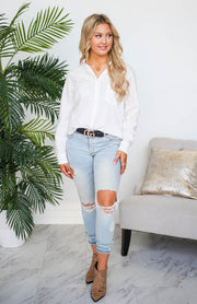 Tarek Button Down Boyfriend Top