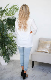 Kiki LaRue Tarek White Button Down Boyfriend Top