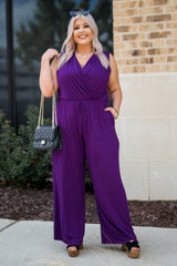 The Office Edit x Kiki LaRue: Sleeveless In Sarasota Romper - Eggplant