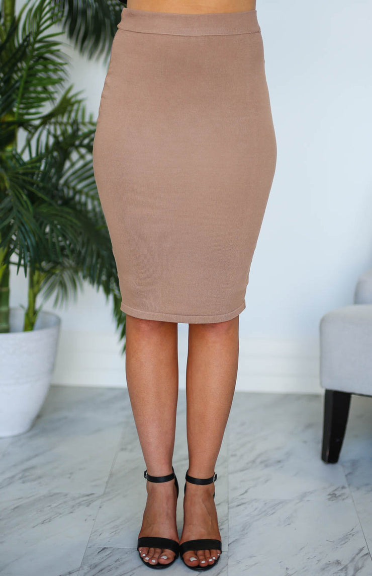Kiki LaRue Mona Mocha Pencil Skirt