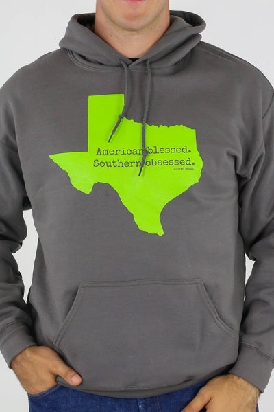 American Blessed Southern Obsessed Hoodie - Gray/Green
