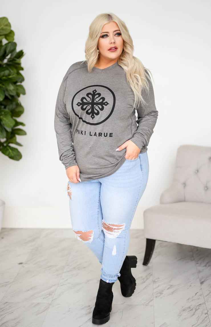 Kiki LaRue Logo Tee V Neck Long Sleeve Tri Flex - Heather Grey