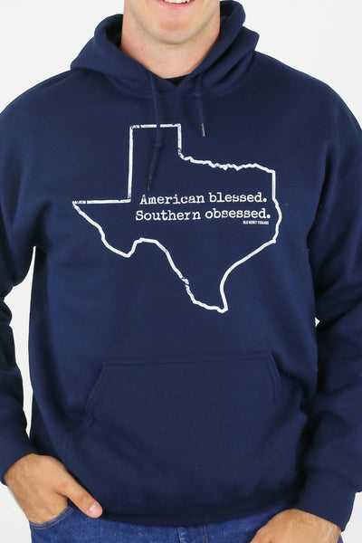 American Blessed Southern Obsessed Hoodie - Navy/White