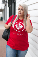 Kiki LaRue Crew Neck Short Sleeve Logo Tee -  Deep Red