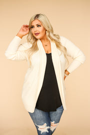 Jora Ribbed Knit Cardigan - Cream