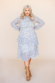 Kiki LaRue Justine Grey Snakeskin Tiered Long Sleeve Midi Dress