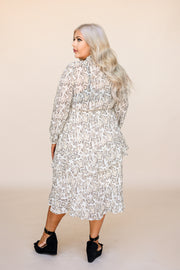 Justine Snakeskin Midi Dress - Taupe