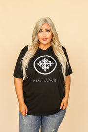 Kiki LaRue Logo Tee Crew Neck Short Sleeved Tri-Blend - Black