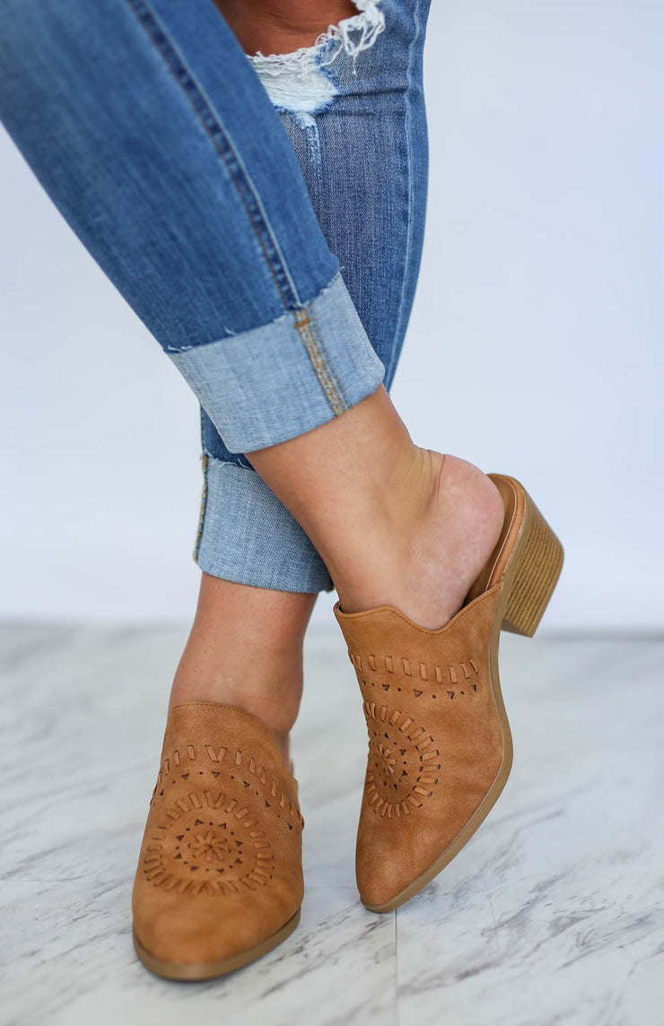 Kiki LaRue Roux Camel Cut Out Mules