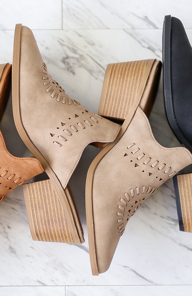 Kiki LaRue Roux Taupe Cut Out Mules