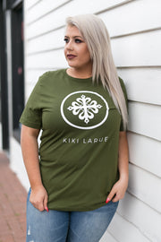 Kiki LaRue Logo Tee Crew Neck Short Sleeved Super Soft - Olive